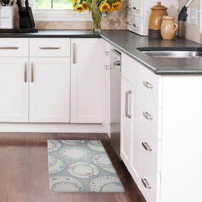 Tea Plates 20 in x 32 in Anti-Fatigue Kitchen Mat