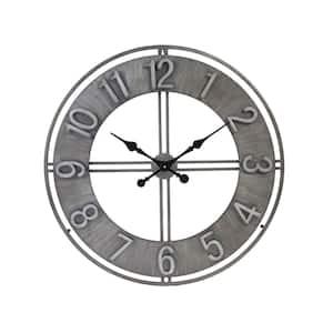 Adorlee Contemporary Metal Cutout Distressed Metallic Clock