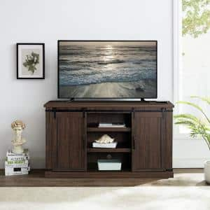 54 in. Saw Cut Off-Espresso Engineered Wood TV Stand Fits TVs Up to 60 in. with Storage Doors