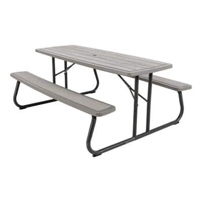6 ft. Folding Resin Picnic Table Storm Dust Rough Cut