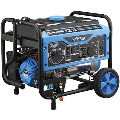 5,250/4,250-Watt Dual Fuel Gasoline/Propane Powered Recoil Start Portable Generator 224 cc CARB Compliant