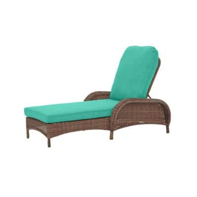 Beacon Park Brown Wicker Outdoor Patio Chaise Lounge with CushionGuard Seaglass Turquoise Cushions