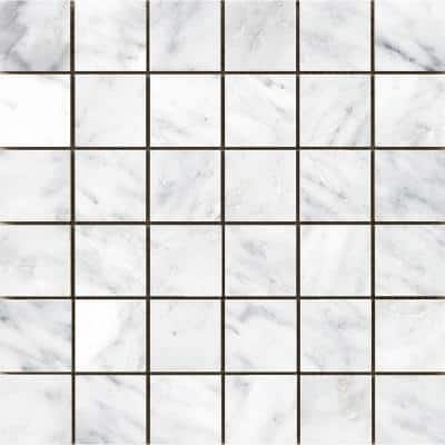Marble Winter Frost Polished 12.01 in. x 12.01 in. x 10 mm Marble Mesh-Mounted Mosaic Tile (1 sq. ft.)