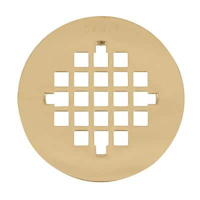 4-1/4 in. Round Snap-In Polished Brass Shower Drain Cover