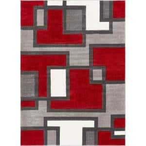 Ruby Imagination Squares Red 7 ft. x 9 ft. Modern Geometric Area Rug