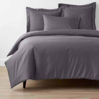 Company Cotton Stone Gray Solid 300-Thread Count Wrinkle-Free Sateen Queen Duvet Cover