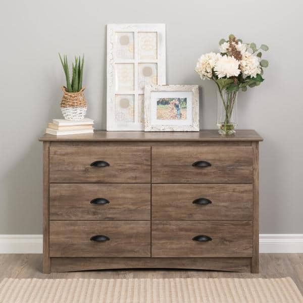 Prepac 29 In H X 48 In W X 16 In D Salt Spring 6 Drawer Drifted Gray Condo Dresser Ddc 4829 The Home Depot