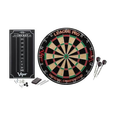 League Pro Sisal 17.75 in. Dartboard with Darts and Accessories