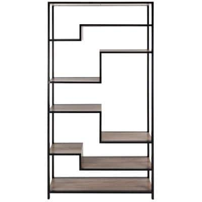 61.8 in. Light Brown/Black Metal 5-shelf Etagere Bookcase with Open Back