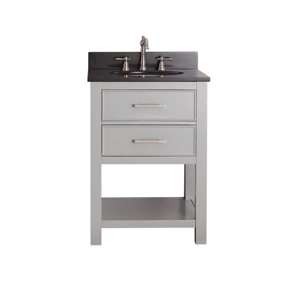 Avanity Brooks 24 In W X 22 In D X 35 In H Vanity In Chilled Gray With Granite Vanity Top In Black With White Basin Brooks Vs24 Cg A The Home Depot