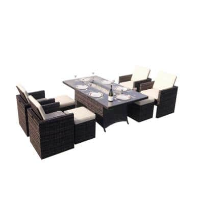 Cube 9-Piece Wicker Patio Fire Pit Conversation Sofa Set with Beige Cushions