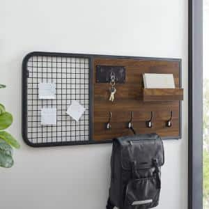 Dark Walnut Wood and Metal Wall Organizer with Hooks and Grid