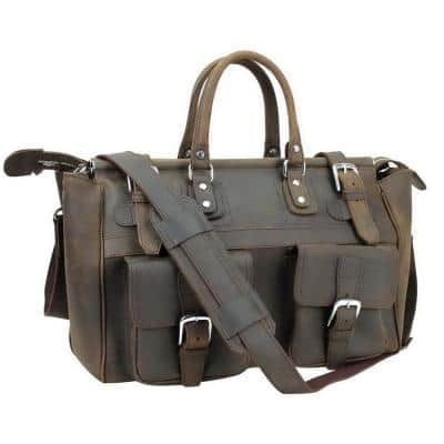 21 in. Classic Vintage Style Cowhide Leather Travel Duffel Bag