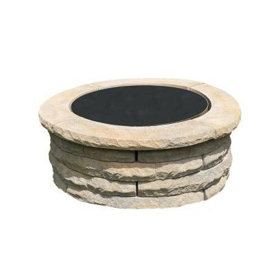Ledgestone 47 in. x 18 in. Round Concrete Wood Fuel Fire Pit Ring Kit Tan Variegated