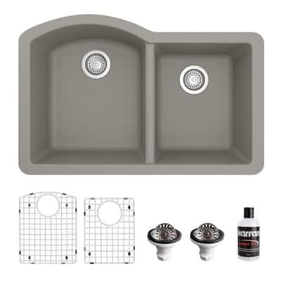 QU-610 Quartz/Granite 32 in. Double Bowl 60/40 Undermount Kitchen Sink in Concrete with Bottom Grid and Strainer