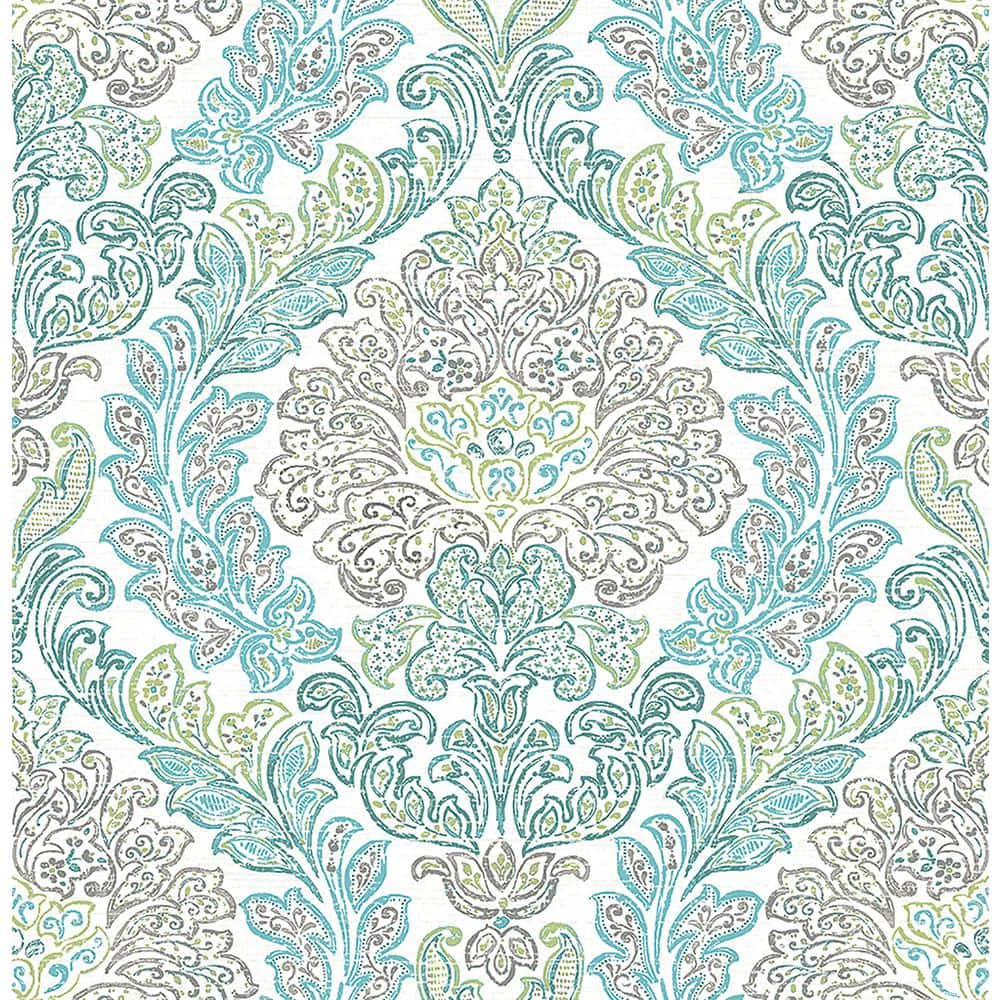 A Street Prints Fontaine Teal Damask Paper Strippable Roll Wallpaper Covers 56 4 Sq Ft 2702 22742 The Home Depot