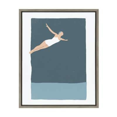 """Sylvie """"The Leap"""" by Rocket Jack (Simon West) Framed Canvas Wall Art 24 in. x 18 in."""