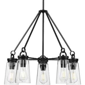 Stockbrace 5-Light Matte Black Clear Glass Farmhouse Chandelier Light