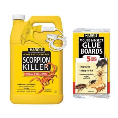 1 Gal. Scorpion Killer Spray and Pest Glue Boards (5-Pack)