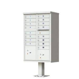 16-Mailboxes 1-Outgoing Mail Compartment 2-Parcel Lockers Pedestal Mount Cluster Box Unit