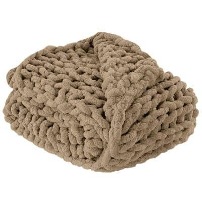 "Modern Threads Chenille Chunky Hand Knit Throw 50 x 60"""