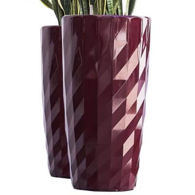 Xbrand 30 in. Tall Red Plastic Nested Self Watering Indoor/Outdoor Diamond Look Round Planter Pot (Set of 2)