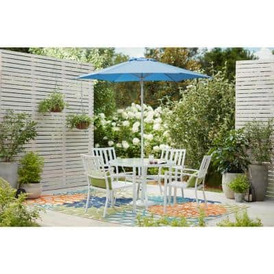 Mix and Match White Round Glass Outdoor Patio Dining Table