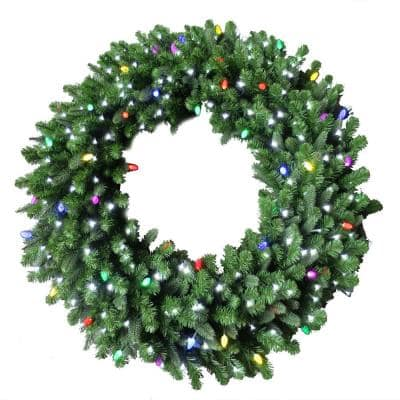 60 in. Royal Grand Spruce Artificial Wreath with Cool White and Multi Lights