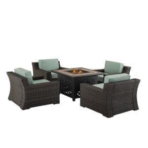 Beaufort 5-Piece Wicker Patio Fire Pit Seating Set with Mist Cushions