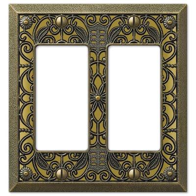 Filigree 2 Gang Rocker Metal Wall Plate - Antique Brass