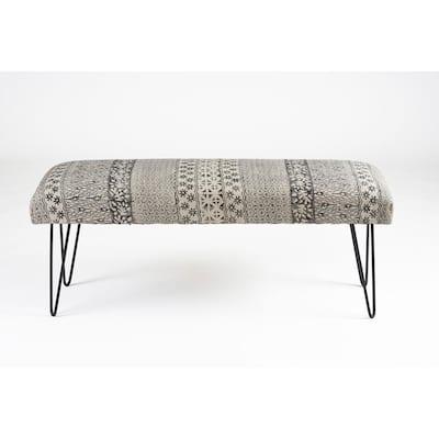 Block Print Black / White Upholstered Indoor Bench