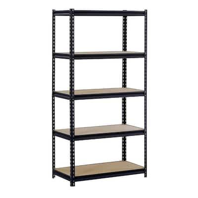 72 in. H x 48 in. W x 18 in. D 5-Shelf Steel Shelving Unit in Black