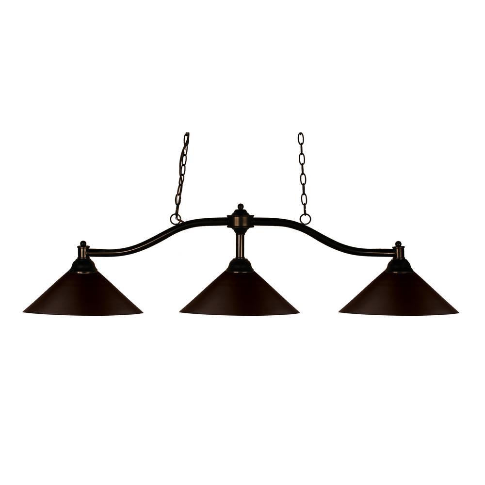 Nika 3-Light Bronze Billiard Light with Bronze Steel Shade