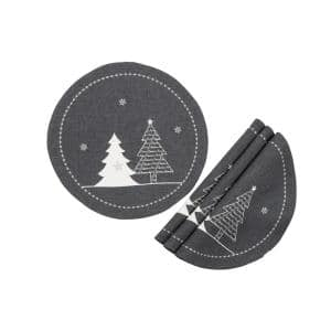 0.1 in. H x 16 in. W Round Lovely Christmas Tree Embroidered Double Layer Placemat in Dark Gray (Set of 4)