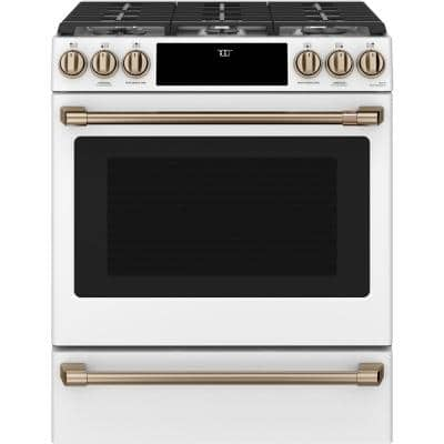 30 in. 5.6 cu. ft. Smart Gas Range with Self-Clean Oven in Matte White, Fingerprint Resistant
