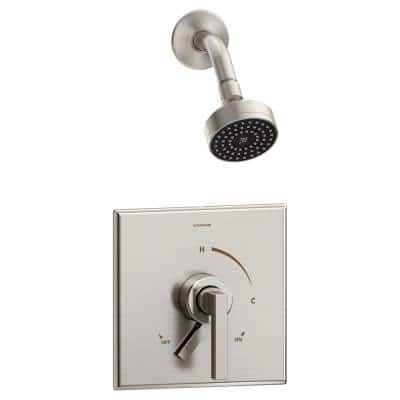 Duro Single Handle 1-Spray Shower Trim with Secondary Volume Control in Satin Nickel - 1.5 GPM (Valve not Included)