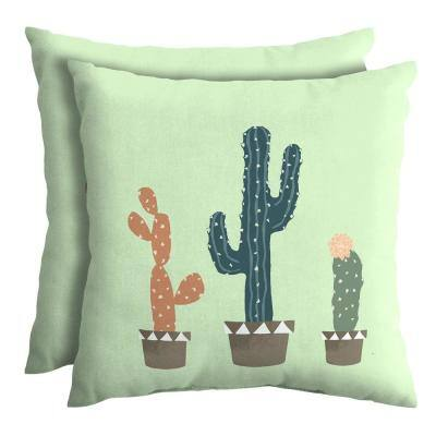 Charleston Cacti 18 in. Square Outdoor Throw Pillow (2-Pack)