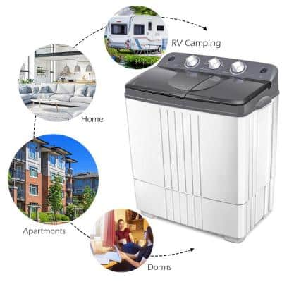 15 in. 1.4 cu. ft. High-Efficiency 120-Volt Smart Portable Top Load Washing Machine with Steam in White, ENERGY STAR
