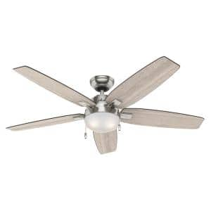 Antero 54 in. LED Indoor Brushed Nickel Ceiling Fan with Light