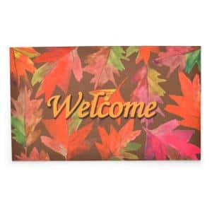 Crumb Rubber Welcome Leaves 18 in. x 30 in. Recycled Rubber Door Mat