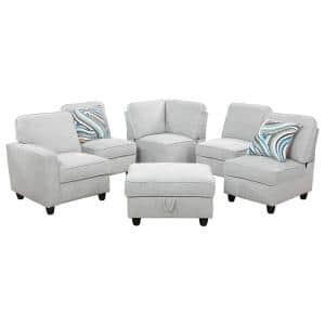 6-Piece Light Gray Microfiber 4-Seat L Shaped Left Facing Sectionals with USB-A