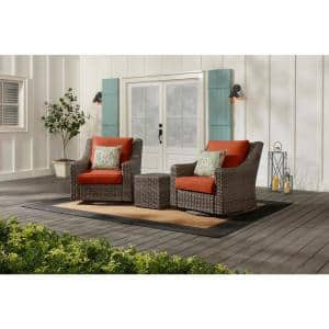 Rock Cliff Brown 3-Piece Wicker Outdoor Patio Seating Set with CushionGuard Quarry Red Cushions