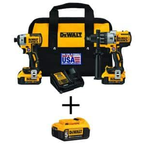 20-Volt MAX XR Cordless Brushless Hammer Drill/Impact Combo Kit (2-Tool) with (2) 4.0Ah Batteries & (1) 5.0Ah Battery