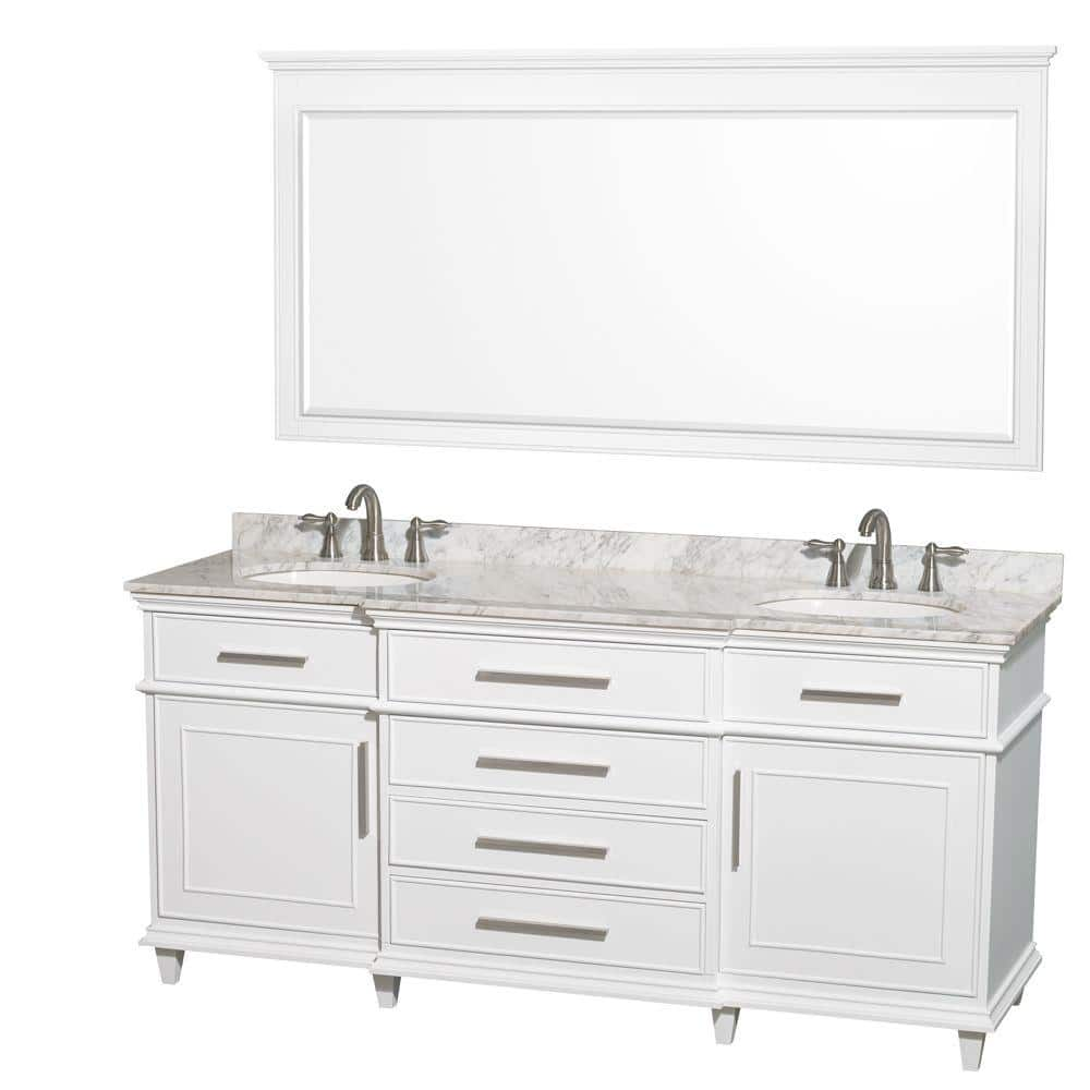 Wyndham Collection Berkeley 72 In Double Vanity In White With Marble Vanity Top In Carrara White Oval Sink And 70 In Mirror Wcv171772dwhcmunrm70 The Home Depot