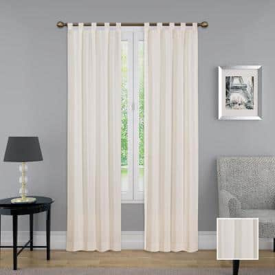 natural Solid Tab Top Room Darkening Curtain - 60 in. W x 84 in. L  (Set of 2)