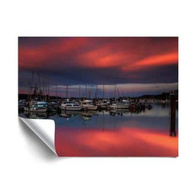 """""""Ganges harbor sunset"""" Beach and Natural Removable Wall Mural"""