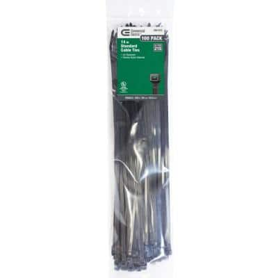 14 in. UV Cable Tie - Black (100-Pack)