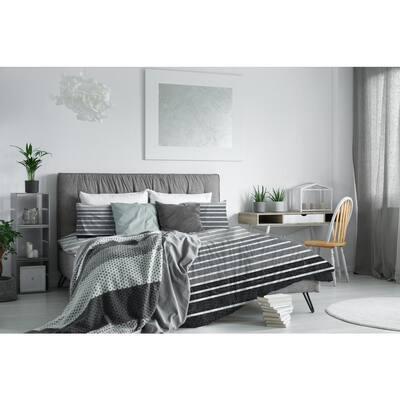 Harper Stripe Microfiber 3-Piece King Comforter Set, Comforter 104 in. x 92 in., Sham 20 in. x 36 in.