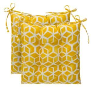 Cubed Yellow Square Tufted Outdoor Seat Cushion (2-Pack)