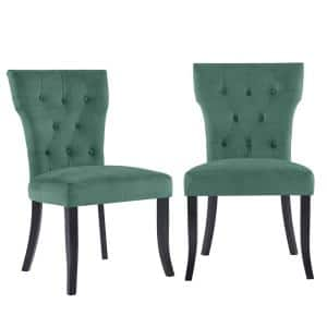 Melonie Turquoise Blue Velvet-like Fabric Tufted Dining Side Chairs (Set of 2)